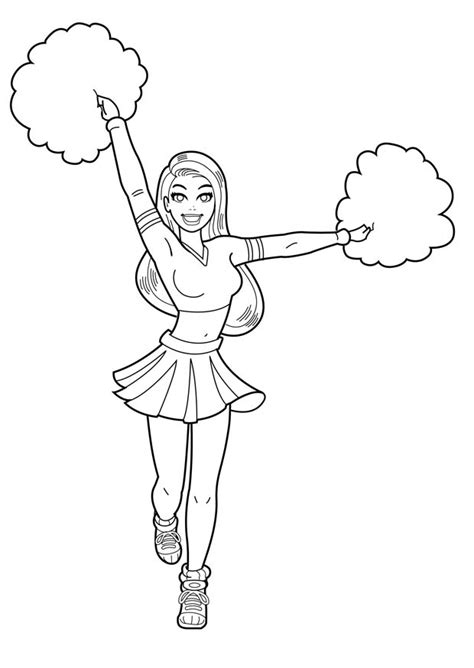 free how to draw a cheerleader coloring pages