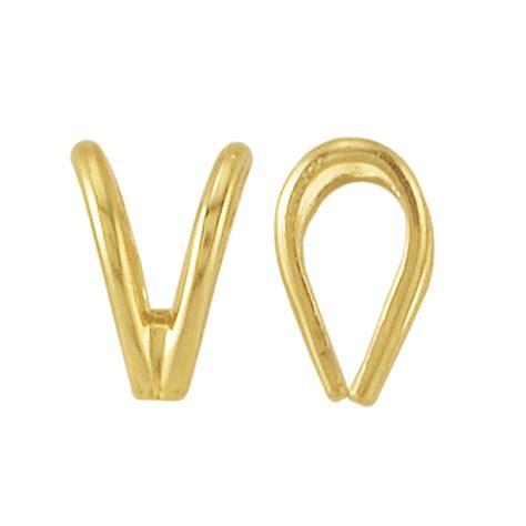14k yellow gold lightweight rabbit ear pendant bail