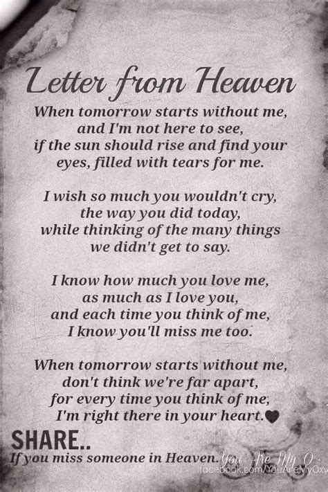 printable version of when tomorrow starts without me poem letter from heaven