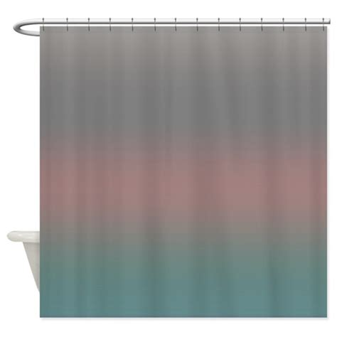 Coral And Gray Curtains Coral Gray Shower Curtain By Coppercreekdesignstudio
