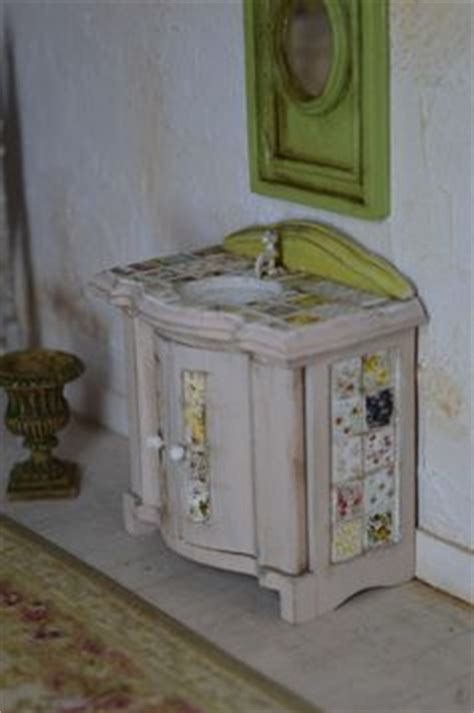 shabby chic bathroom sink unit dollhouse miniature shabby chic white wrinkle slipcover