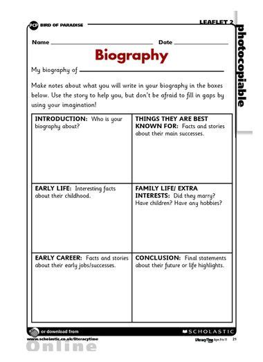 biography interview questions ks2 biography planning frame pinteres