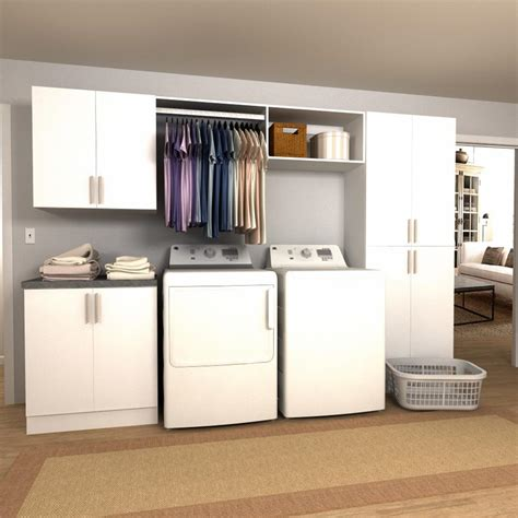laundry cabinet with hanging rod modifi 75 in w white open shelves laundry cabinet kit enl75a mpw the home depot