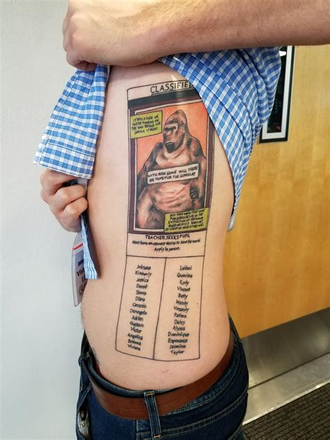 teacher tattoo high school inspires students gets of