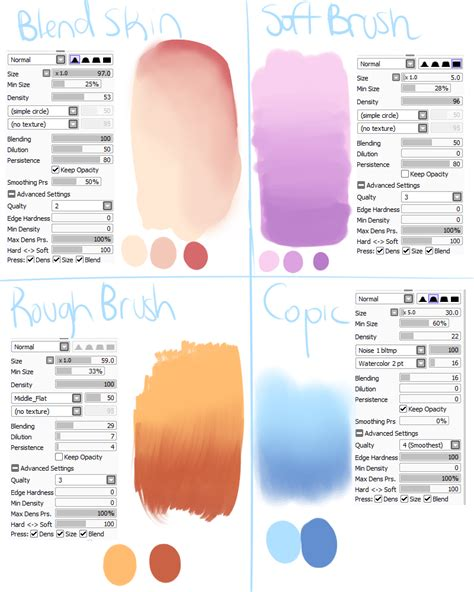 sai brush settings 1 by skyflamia on wysp character design references www
