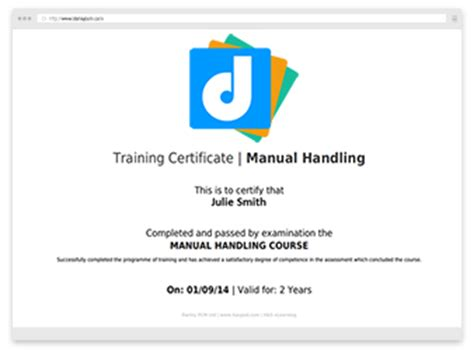 manual handling certificate template darley pcm uk health and safety services