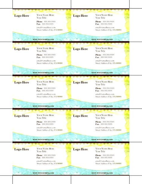 Printable Business Card Template   Besttemplates123