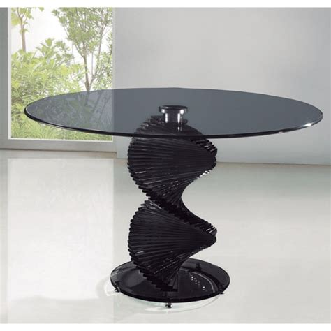 This Marvelous Swirl Smoked Glass Single Support Dining Swirl Glass Coffee Table