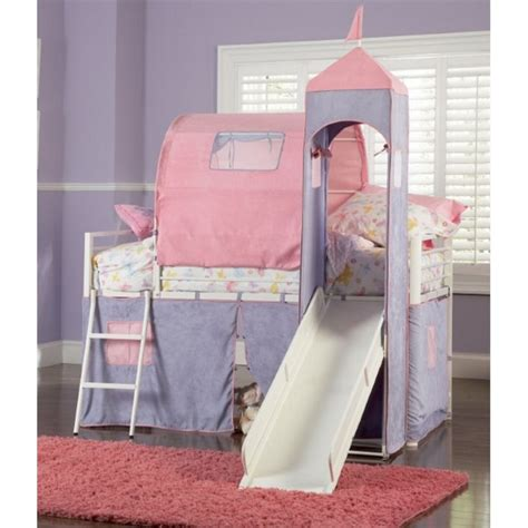 Princess Castle Twin Size Metal Loft Bed With Tent And Princess Bed With Slide