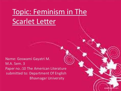 3 main themes of the scarlet letter feminism in the scarlet letter