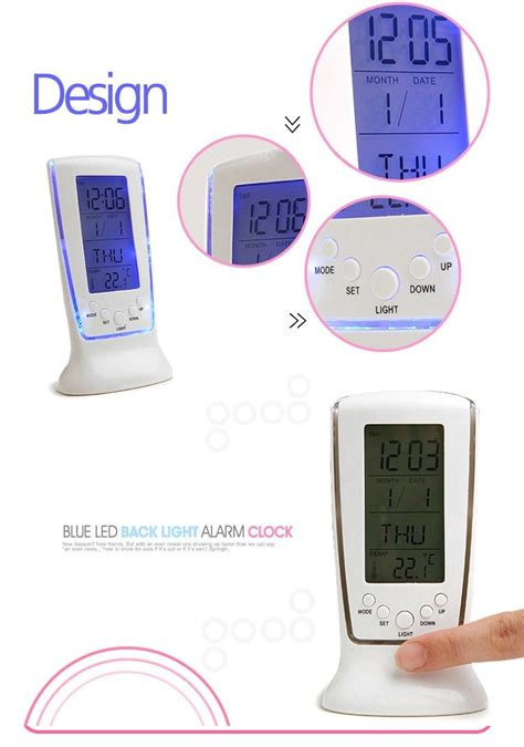 Led Light Backlight Alarm Clock With Temperature 510 led backlight calendar alarm square clock 510 11street malaysia alarm clock