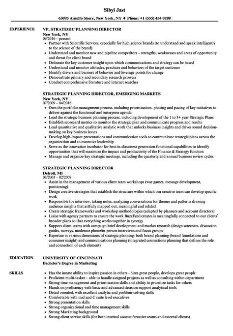 strategic planning resume exles strategic planning director resume sles velvet