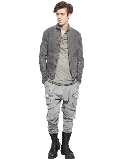 Washed Ripped Denim Jacket julius washed ripped cotton denim jacket in gray for