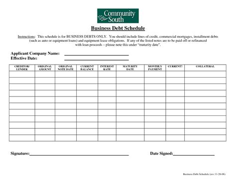business debt schedule form business form templates