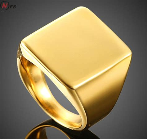 Cincin Titanium Smooth Signet Square Square Big 21mm Width Signet Rings 24k Gold Plated