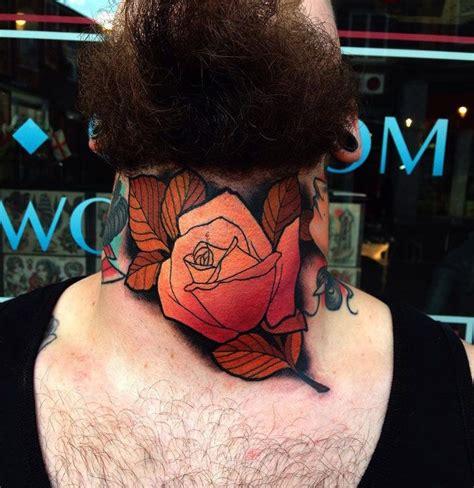 rose throat tattoo orange throat throat