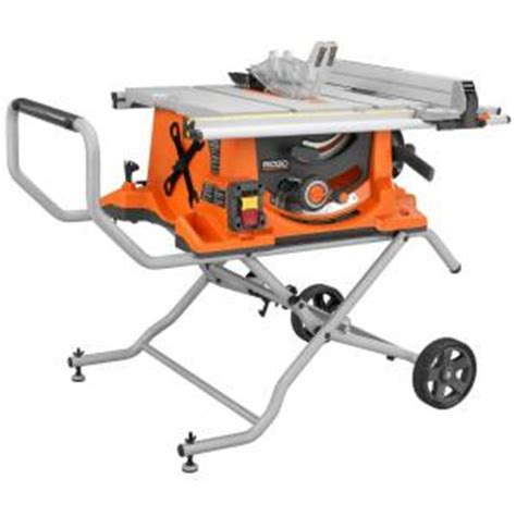 home depot portable table saw ridgid 15 10 in heavy duty portable table saw with