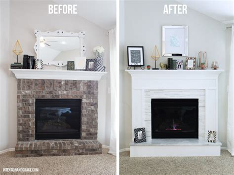 Before And After Brick Fireplace by Modern Fireplace Makeover Intention Grace