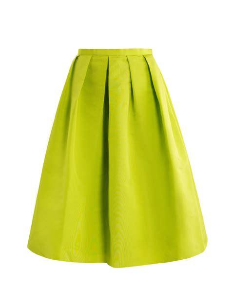 tibi neon pleated skirt in green lyst