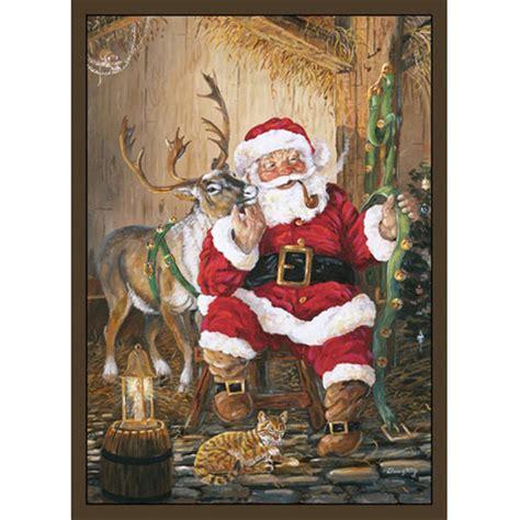 santa rugs custom printed rugs 37x52 quot santa reindeer rug 216674 rugs at sportsman s guide
