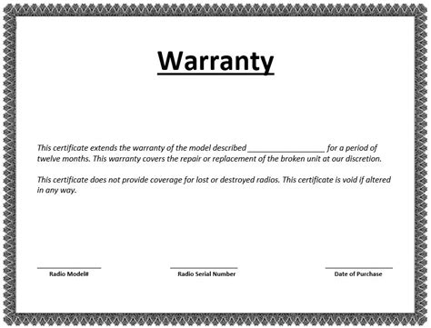 Warranty Card Template by 8 Free Sle Warranty Certificate Templates Printable