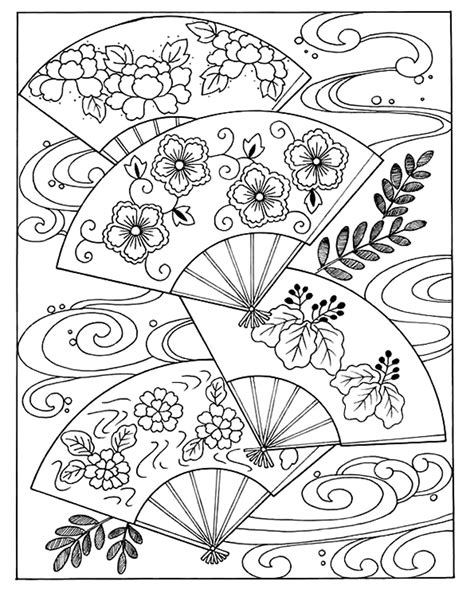 japanese christmas coloring page japanese hand fan japan coloring pages for adults