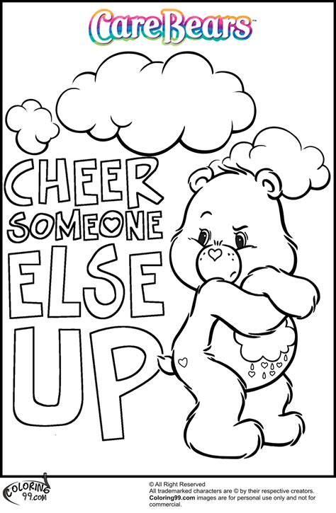 coloring pages of grumpy bear care bear coloring pages team colors