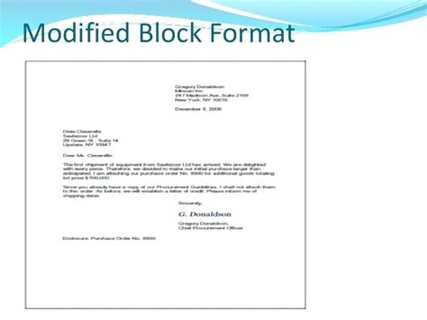 modified block format business letter template modified block business letter format sle