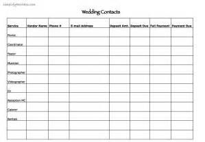 Vendor Information Sheet Template by Wedding Contact List Simplify The Chaos