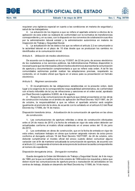 orden tin 1071 2010 de 27 de abril sobre los requisitos y datos que