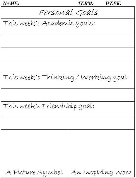 occupational therapy goal setting template personal goals word doc and words on