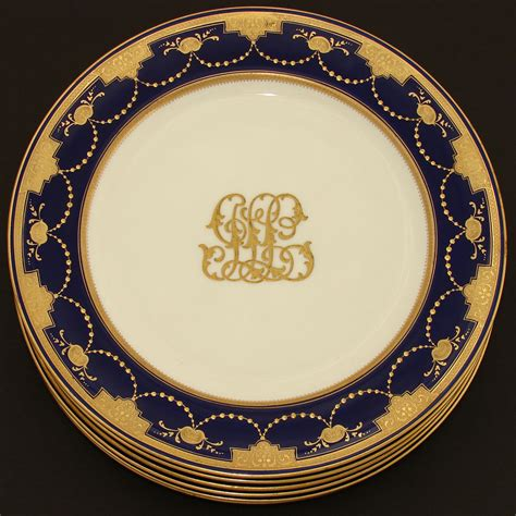 gold dining set plates set of six antique minton 10 quot dinner plates cobalt