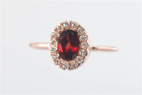 garnet ring halo garnet ring 14k gold gemstone ring january