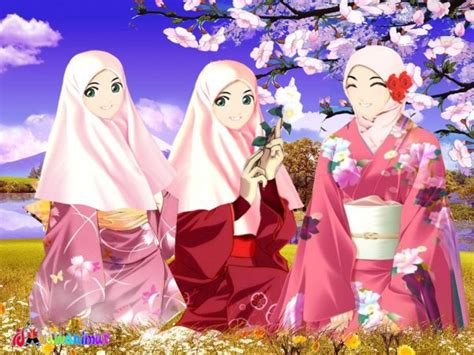 wallpaper bergerak muslimah gambar kartun muslimah imut lucu