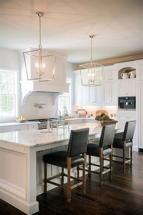 kitchen chandelier ideas stunning white kitchen with silver lanterns and leather barstools house