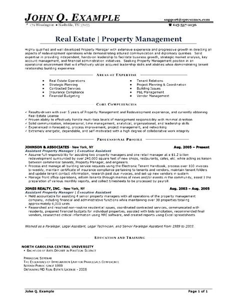 Resume Sle For Property Custodian Property Management Resume Free Sles Exles Format Resume Curruculum Vitae Free