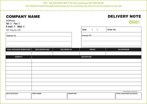 delivery note template delivery books 163 65 from free delivery notebook template