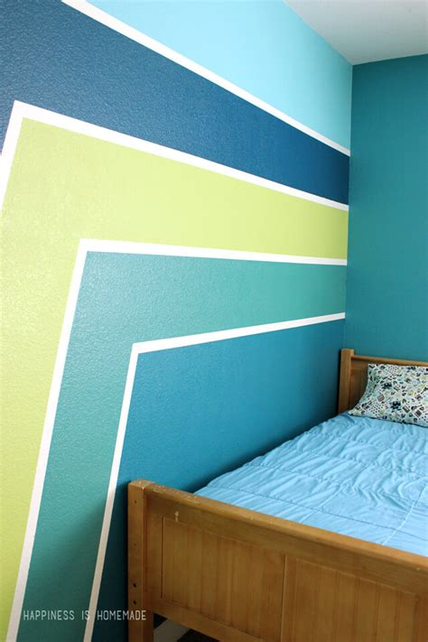 boys bedroom graphic racing stripes painted accent wall happiness is