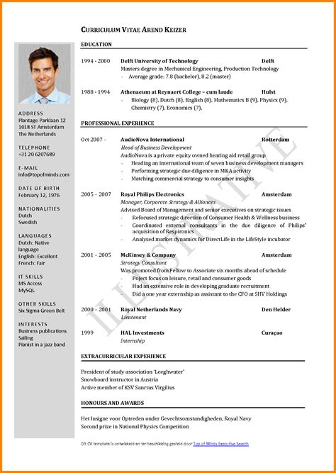 Cv Template For 4 Cv Format Sle Ledger Paper
