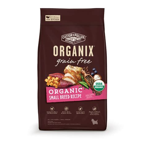 castor for dogs castor and pollux organix grain free organic small breed food petflow