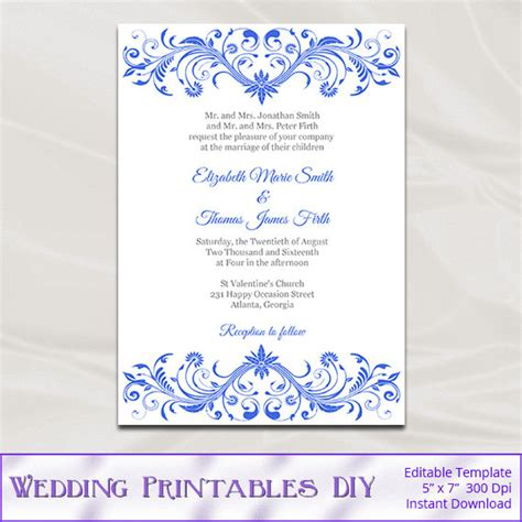 royal invitation template royal blue wedding invitation template diy printable birthday