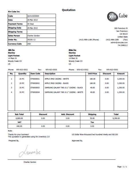 Format Quotation | sle quotation template