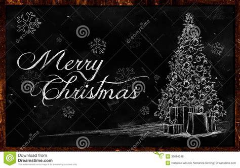 merry christmas tree drawing on blackboard stock
