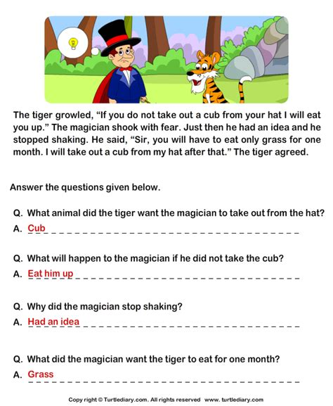 reading comprehension test questions and answers read comprehension tiger and magician and answer the