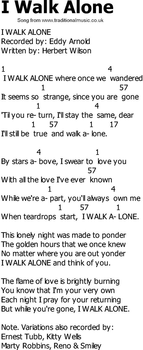 country song lyrics with chords i walk alone