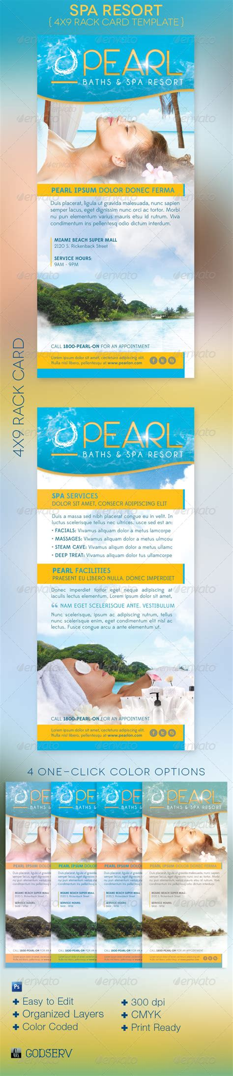 rack card template for openoffice spa resort rack card template graphicriver