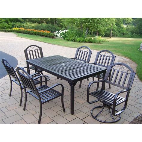 Oakland Living Tuscany Stone Art 54 in. 7 Piece Patio