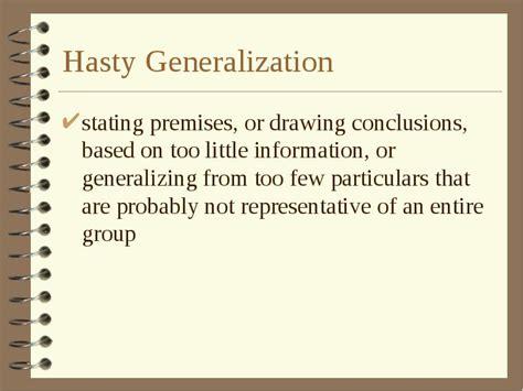 exle of hasty generalization hasty generalization fallacy exles