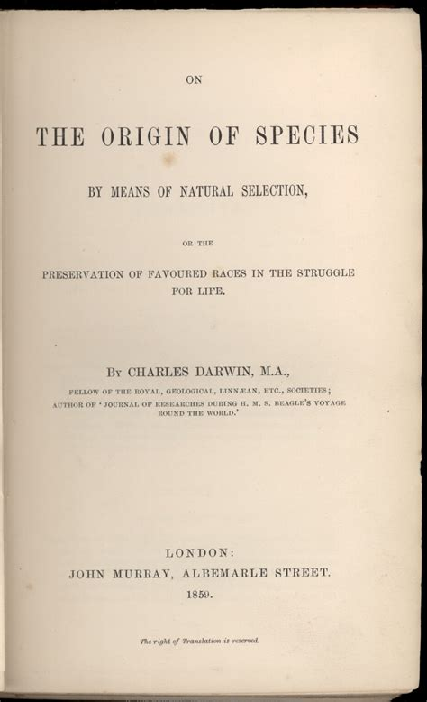 Darwin C R 1859 On The Origin Of Species By Means Of | laboratorio ovando darwin c r 1859 on the origin of