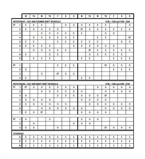 12 Hour Rotating Shift Schedule Calendar Printable Receipt Template 2 Shift Schedule Template